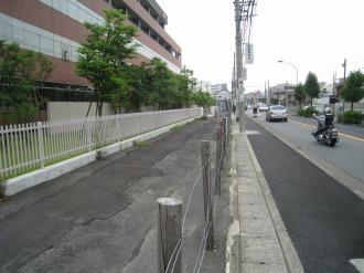 東京応化工業前の拡幅用地