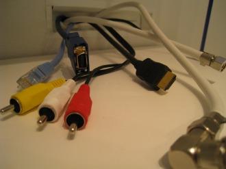 カウンターに設置された接続端子