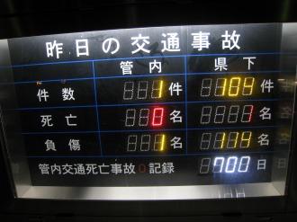 交通事故に関する電光掲示板