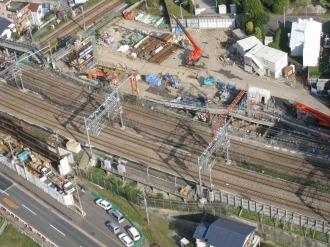 横須賀線武蔵小杉駅設置工事・南武線との交点