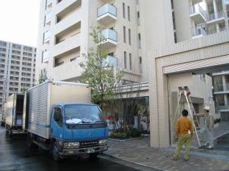 プラウド武蔵小杉の引越しトラック
