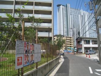 中丸子まるっこ公園の選挙ポスター掲示板