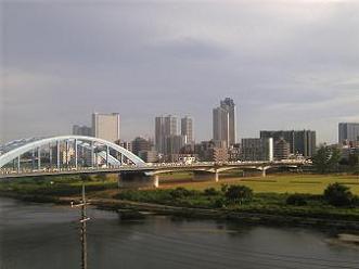 多摩川(丸子橋と武蔵小杉の高層ビル群)