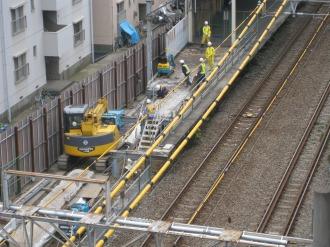 下り線ホーム接続部の工事