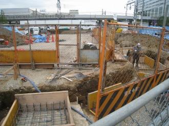 横須賀線武蔵小杉駅ロータリー工事(2009年8月中旬)