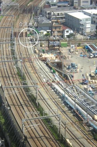 横須賀線東京方面の新旧線路合流地点